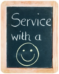 """Service with a Smile"" (on blackboard)"