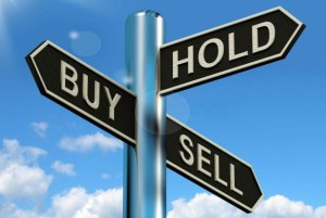 D04H6G Buy Hold And Sell Signpost Represents Stocks Strategy